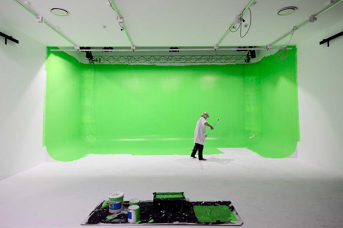 Sydney Props Photo Studio - Studio 4 TV Production - Custom Painted Green Cyc