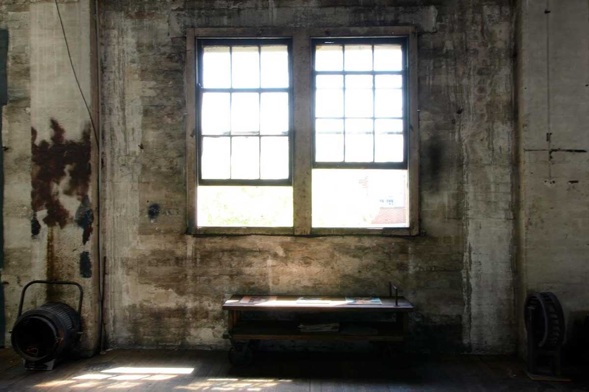 Studio 1 Warehouse - old sash windows in this beautiful Rustic Photographic Studio for hire in Marrickville, Sydney