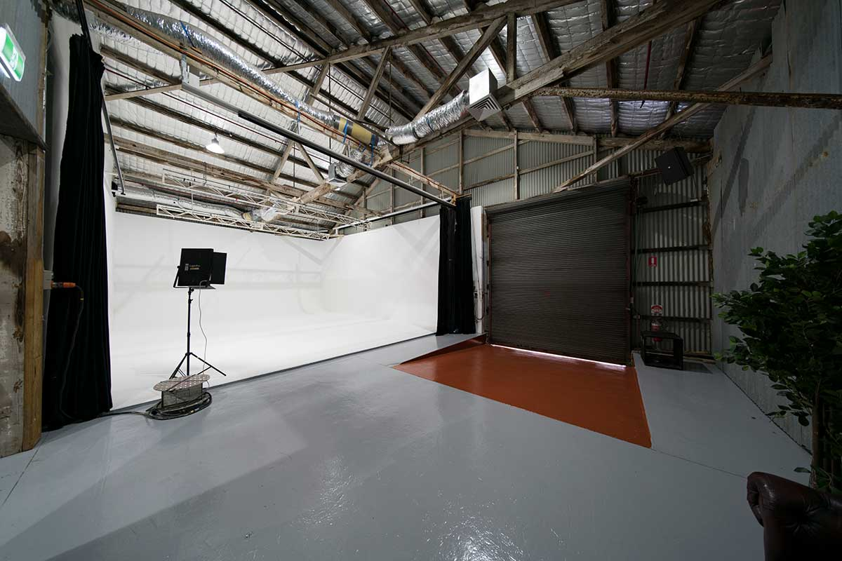 Sydney Props Photo Studio - Studio 2 White Cyc - Wide Angle View to Dock